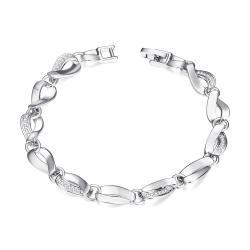 Vienna Jewelry White Gold Plated Malibu Beach Hollow Ingrained Bracelet - Thumbnail 0