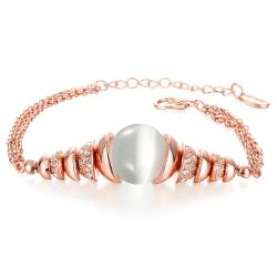 Vienna Jewelry 18K Rose Gold Bracelet with Ivory Centerpiece with Austrian Crystal Elements - Thumbnail 0
