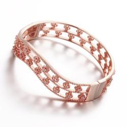 Vienna Jewelry Rose Gold Plated Surrounding Crystal Studs Bangle - Thumbnail 0