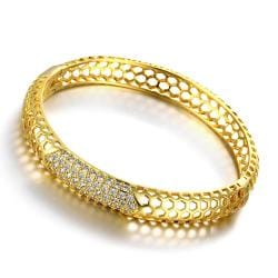 Vienna Jewelry Gold Plated Hollow Ingrained Circular Bangle - Thumbnail 0