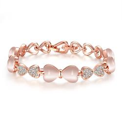 Vienna Jewelry 18K Rose Gold Bracelet with Centerpiece Gemstone with Austrian Crystal Elements - Thumbnail 0
