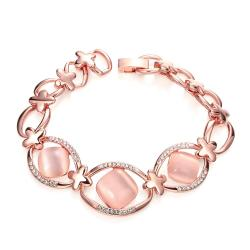 Vienna Jewelry 18K Rose Gold Pink Natural Gemstone Bracelet with Austrian Crystal Elements - Thumbnail 0