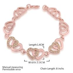 Vienna Jewelry 18K Gold Connected Hearts Bracelet with Austrian Crystal Elements - Thumbnail 0