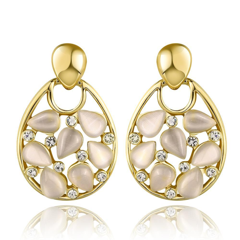 Vienna Jewelry 18K Gold Hollow Drop Down Earrings with Ivory Inlay Made with Swarovksi Elements