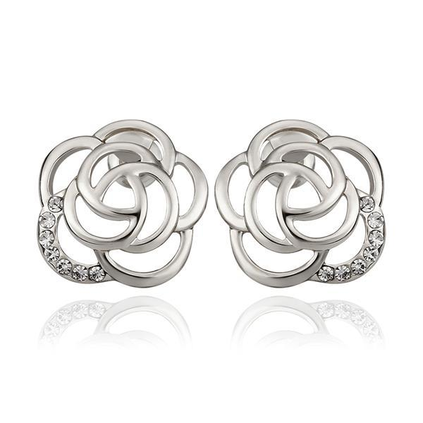 Vienna Jewelry 18K White Gold Hollow Floral Petal Stud Earrings Made with Swarovksi Elements