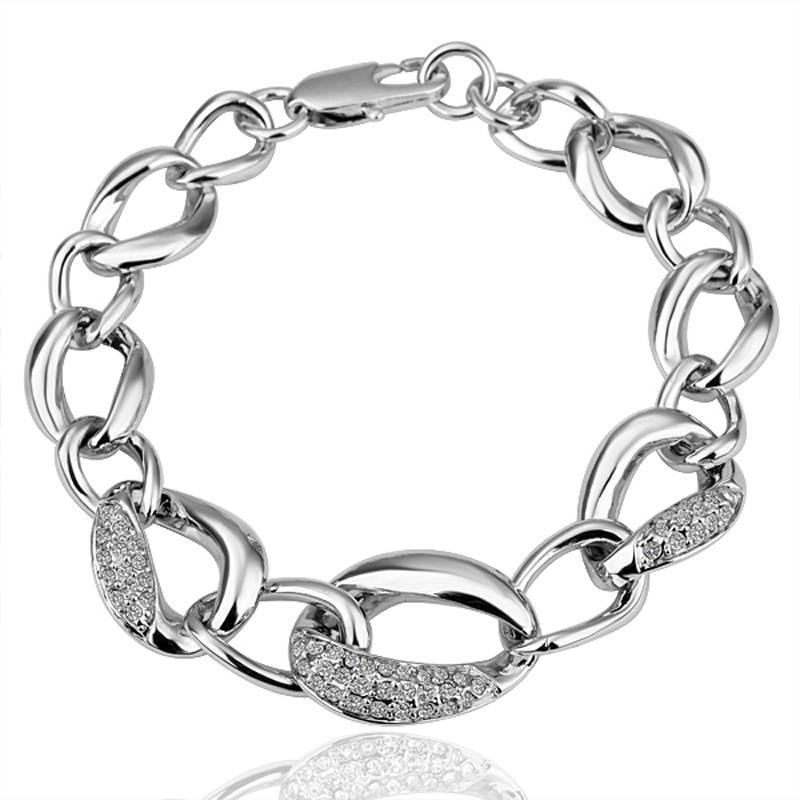 Vienna Jewelry 18K White Gold Crystal Jewels Covered Bracelet with Austrian Crystal Elements