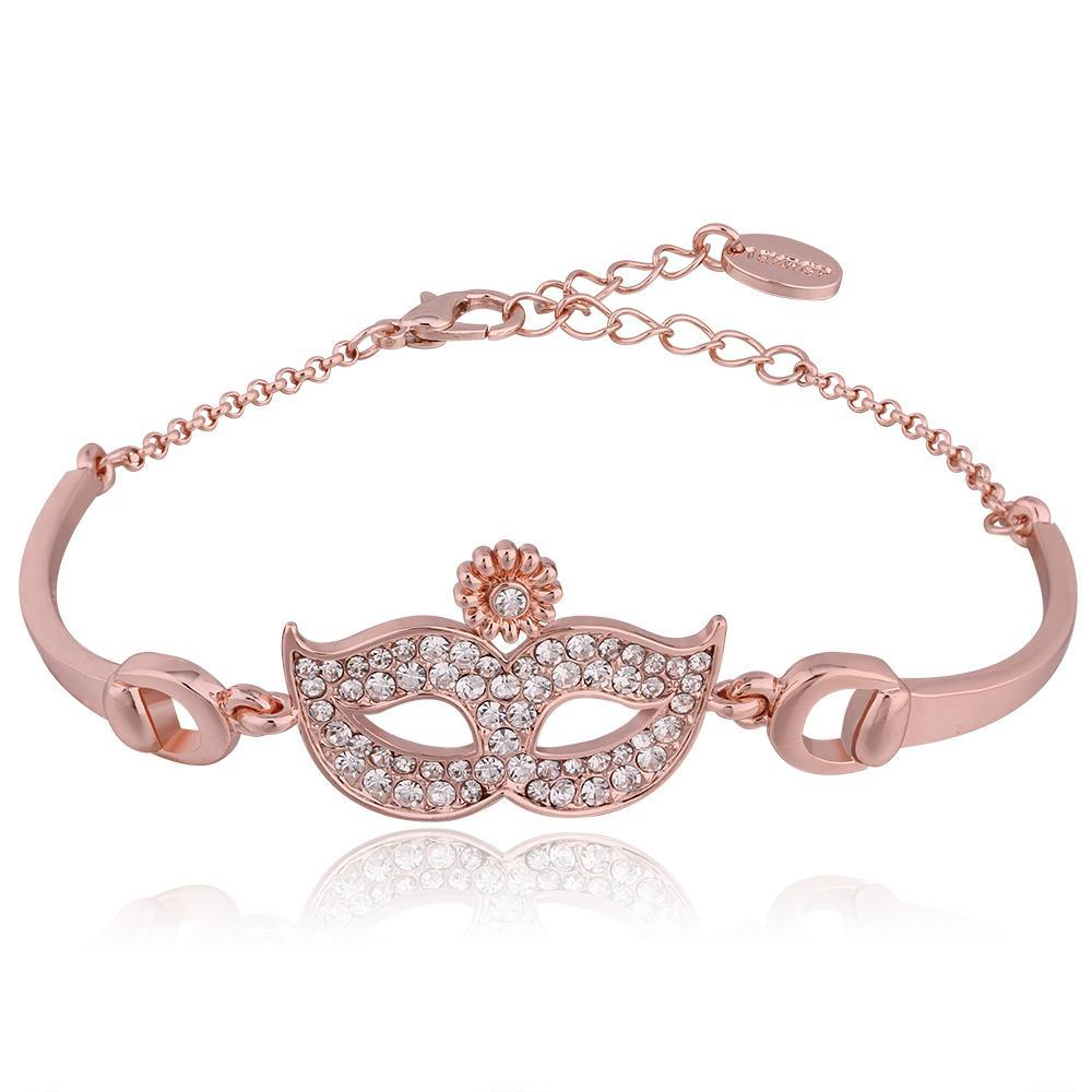 Vienna Jewelry 18K Rose Gold Mask Emblem Bracelet with Austrian Crystal Elements