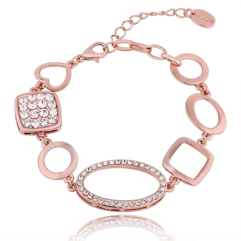 Vienna Jewelry 18K Rose Gold Mixed Shaped Bracelet with Austrian Crystal Elements