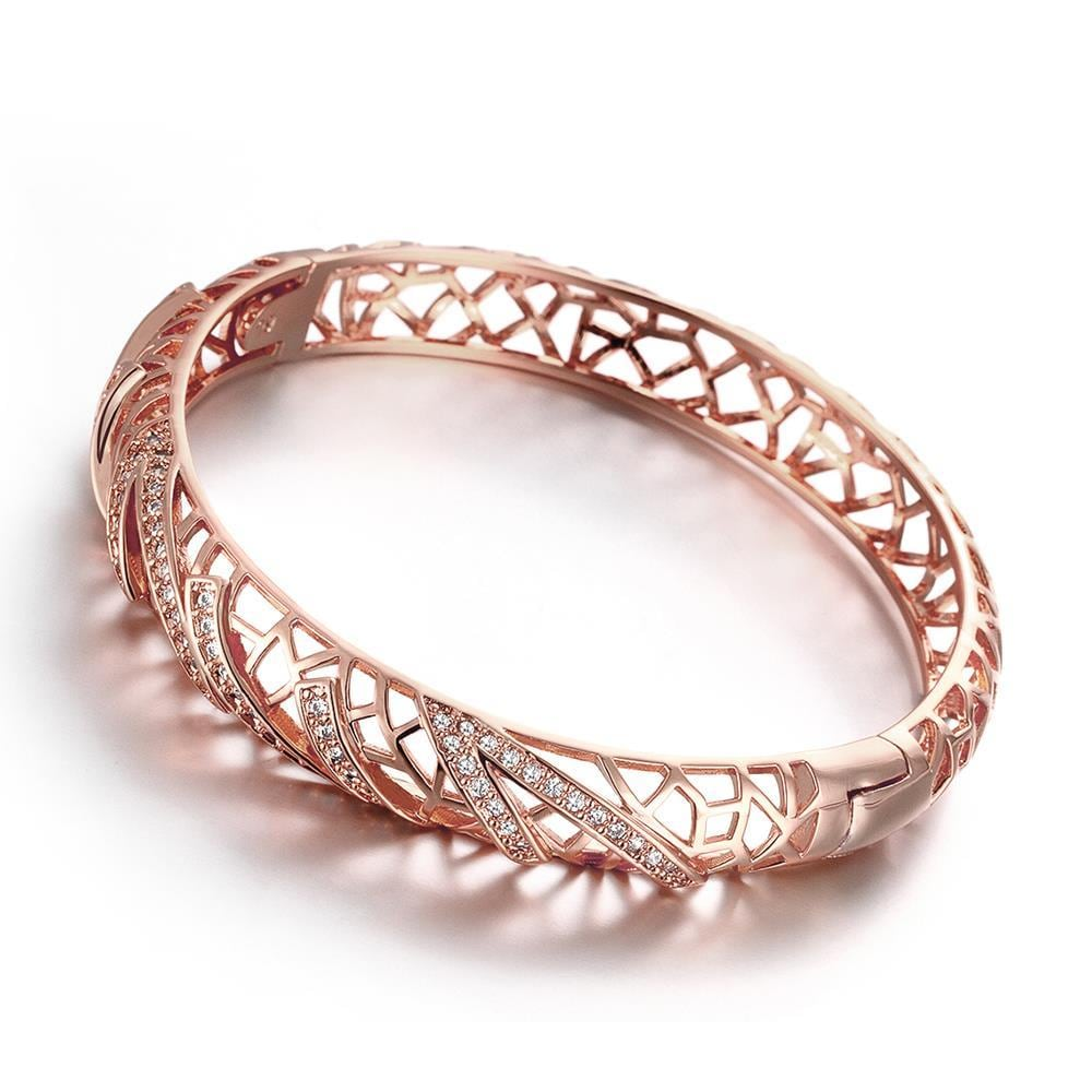Vienna Jewelry Rose Gold Plated Voyager Laser Cut Ingrain Bangle