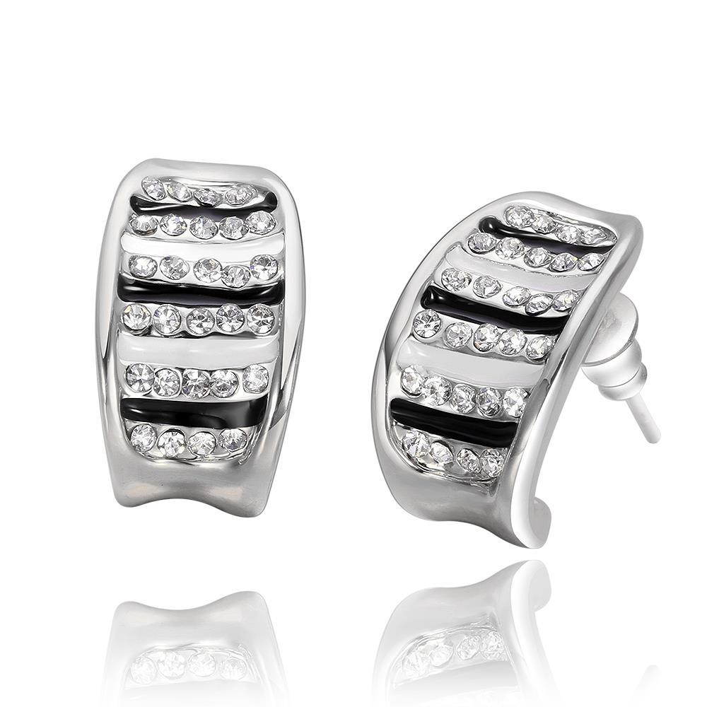 Vienna Jewelry 18K White Gold Stud Earrings with Ivory & Onyx Lining Made with Swarovksi Elements