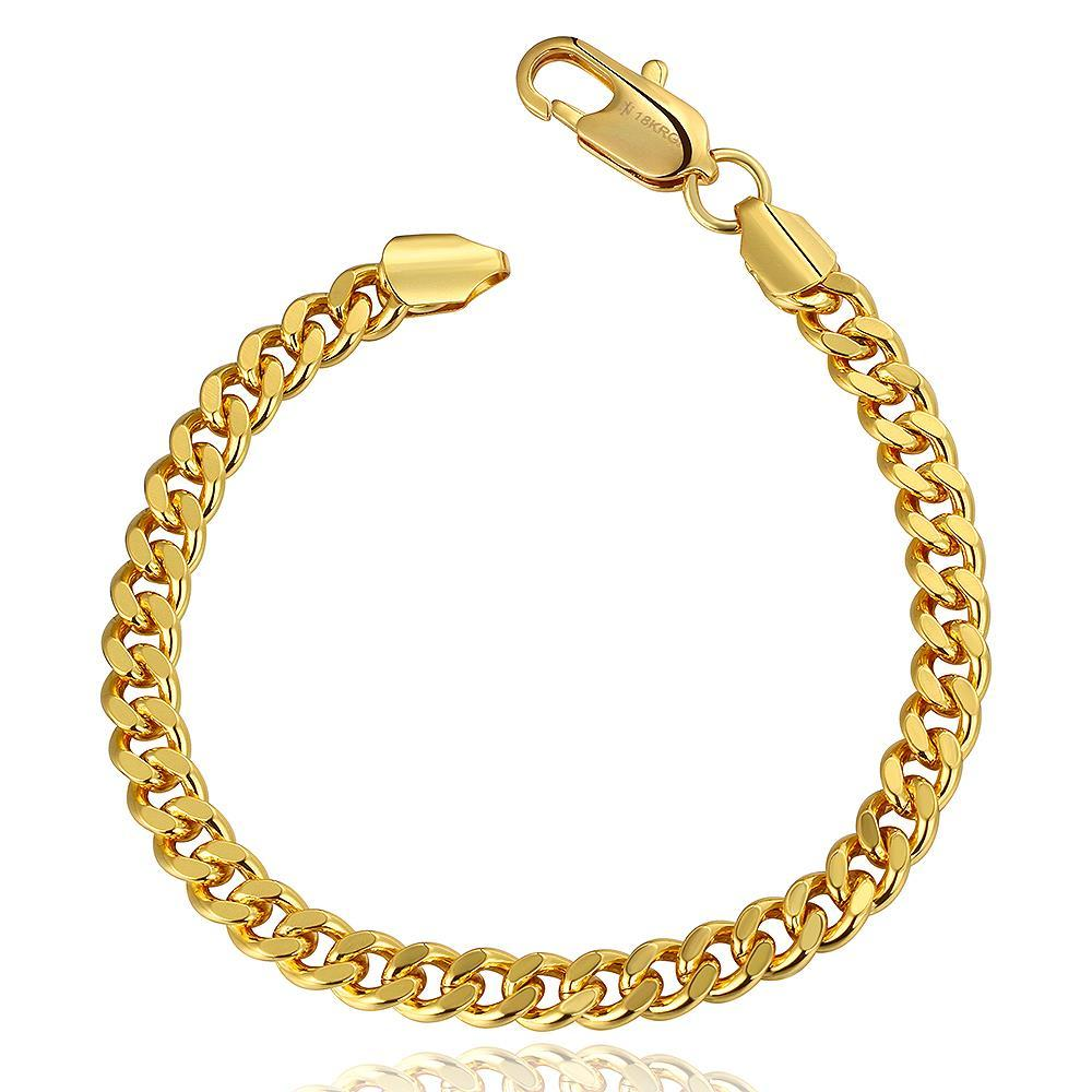 Vienna Jewelry 18K Gold Thick Cut Bracelet with Austrian Crystal Elements