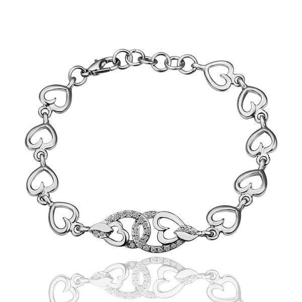 Vienna Jewelry Interconnected Hearts 18K White Gold Bracelet with Austrian Crystal Elements