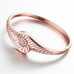 Vienna Jewelry Rose Gold Plated Slim Cuff-Standard Bangle - Thumbnail 0