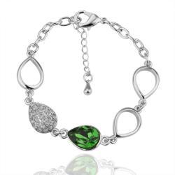 Vienna Jewelry Emerald Gem 18K White Gold Bracelet with Austrian Crystal Elements - Thumbnail 0
