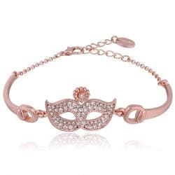 Vienna Jewelry 18K Rose Gold Mask Emblem Bracelet with Austrian Crystal Elements - Thumbnail 0