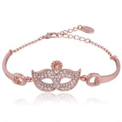 Vienna Jewelry 18K Rose Gold Mask Emblem Bracelet with Austrian Crystal Elements - Thumbnail 0