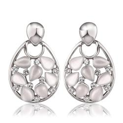 Vienna Jewelry 18K White Gold Hollow Drop Down Earrings with Ivory Inlay Made with Swarovksi Elements - Thumbnail 0