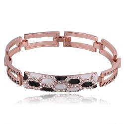 Vienna Jewelry 18K Rose Gold Black & White Stones Bracelet with Austrian Crystal Elements - Thumbnail 0