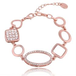 Vienna Jewelry 18K Rose Gold Mixed Shaped Bracelet with Austrian Crystal Elements - Thumbnail 0