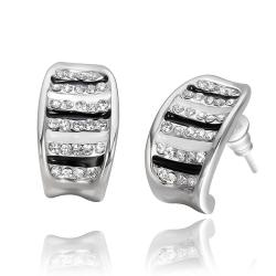 Vienna Jewelry 18K White Gold Stud Earrings with Ivory & Onyx Lining Made with Swarovksi Elements - Thumbnail 0