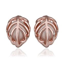 Vienna Jewelry 18K Rose Gold Classic Tiffany's Laser Cut Earrings Made with Swarovksi Elements - Thumbnail 0