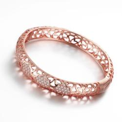 Vienna Jewelry Rose Gold Plated Dazzle Diva Bangle - Thumbnail 0