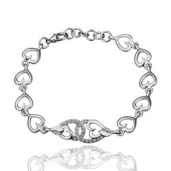 Vienna Jewelry Interconnected Hearts 18K White Gold Bracelet with Austrian Crystal Elements - Thumbnail 0