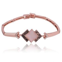 Vienna Jewelry 18K Rose Gold Natural Gem Bracelet with Austrian Crystal Elements - Thumbnail 0