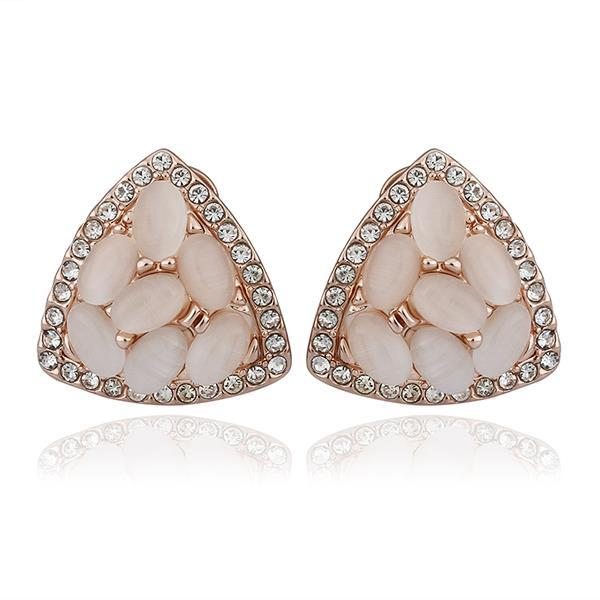 Vienna Jewelry 18K Rose Gold Triangular Shaped Natural Gemstones Stud Earrings Made with Swarovksi Elements