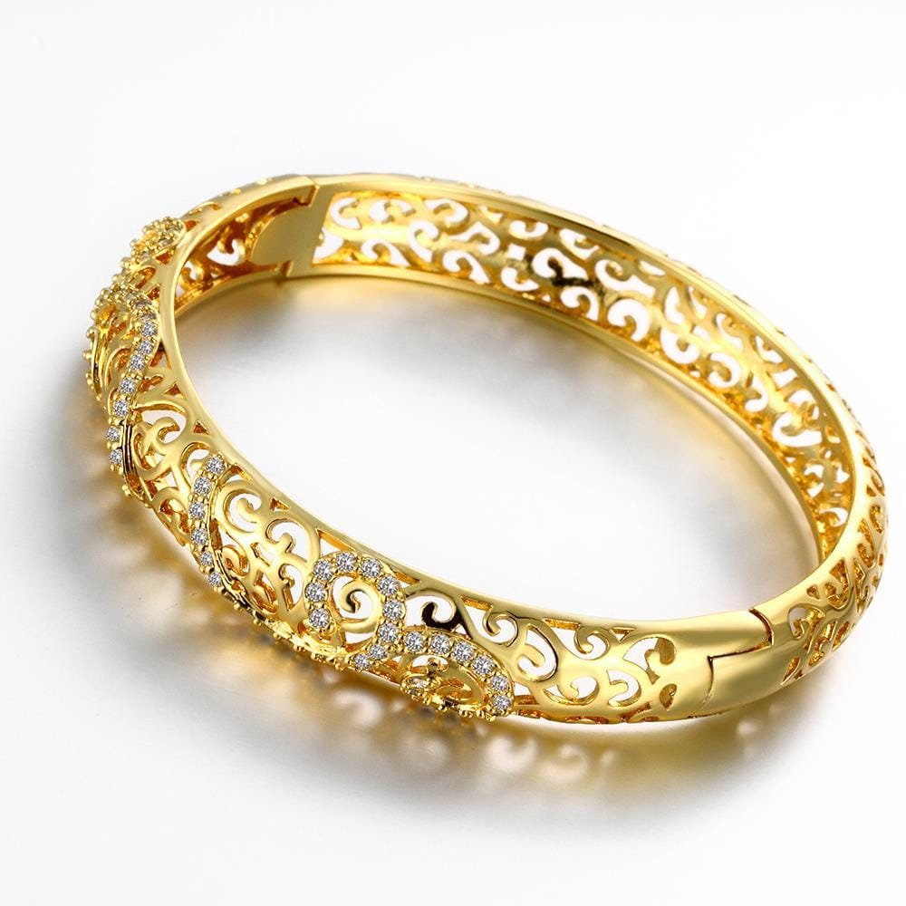 Vienna Jewelry Gold Plated Designer Inspired Tinted Bangle