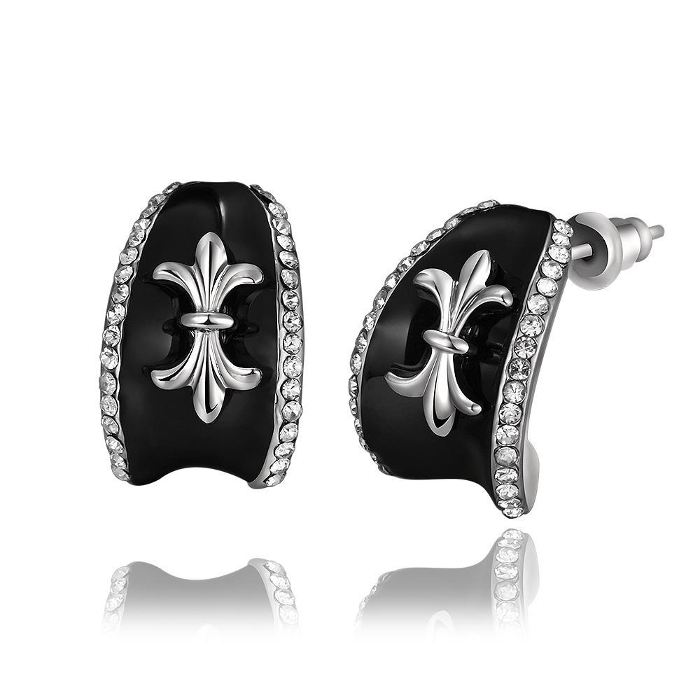 Vienna Jewelry 18K White Gold Stud Earrings with French Emblem Made with Swarovksi Elements