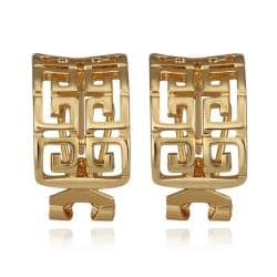 Vienna Jewelry 18K Gold Oriental Design Stud Earrings Made with Swarovksi Elements - Thumbnail 0