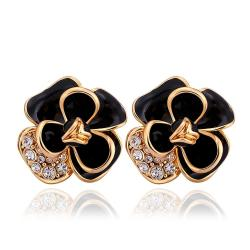 Vienna Jewelry 18K Gold Onyx Covering Floral Petal Stud Earrings Made with Swarovksi Elements - Thumbnail 0