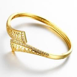 Vienna Jewelry Gold Plated Marla Cuff Bangle - Thumbnail 0