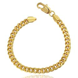 Vienna Jewelry 18K Gold Thick Cut Bracelet with Austrian Crystal Elements - Thumbnail 0