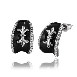 Vienna Jewelry 18K White Gold Stud Earrings with French Emblem Made with Swarovksi Elements - Thumbnail 0
