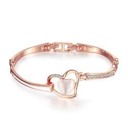 Vienna Jewelry 18K Rose Gold Thin Lay & Hollow Emblem Bracelet with Austrian Crystal Elements - Thumbnail 0