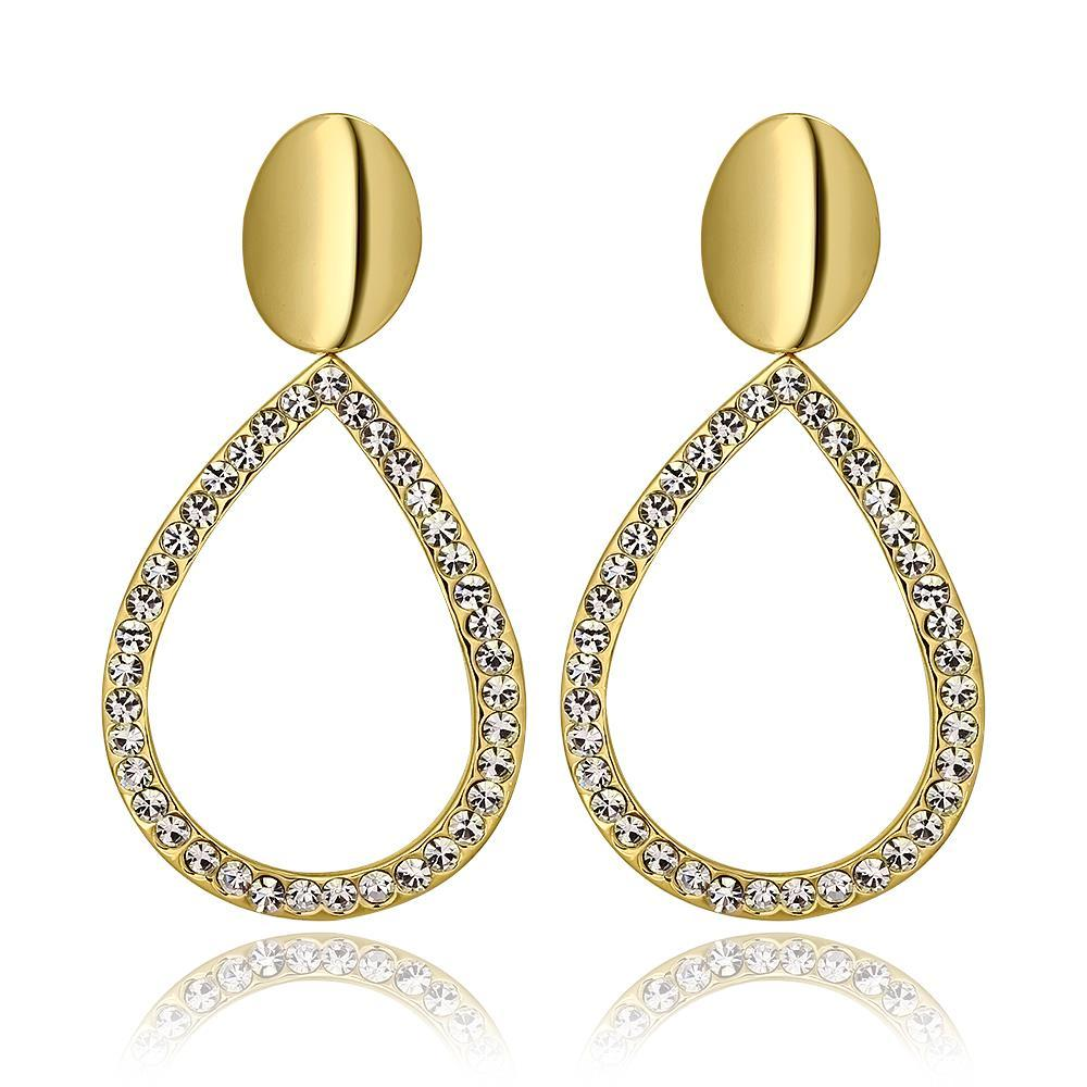 Vienna Jewelry 18K Gold Hollow Classic Drop Down Earrings Made with Swarovksi Elements