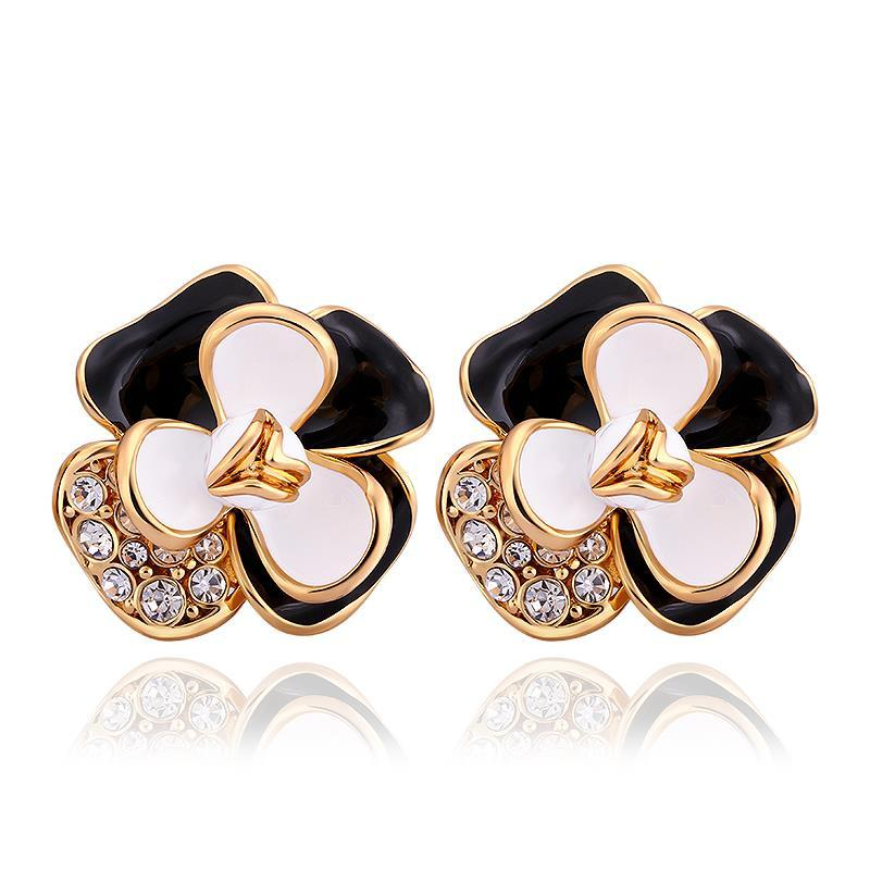 Vienna Jewelry 18K Gold Ivory Covered Floral Petal Stud Earrings Made with Swarovksi Elements