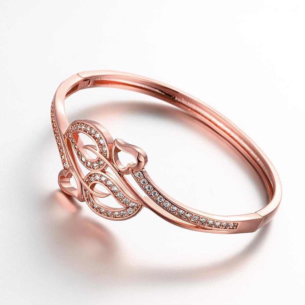Vienna Jewelry Rose Gold Plated Chevron Cuff Bangle