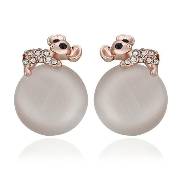 Vienna Jewelry 18K Rose Gold Large Pearl Center Stud Earrings Made with Swarovksi Elements
