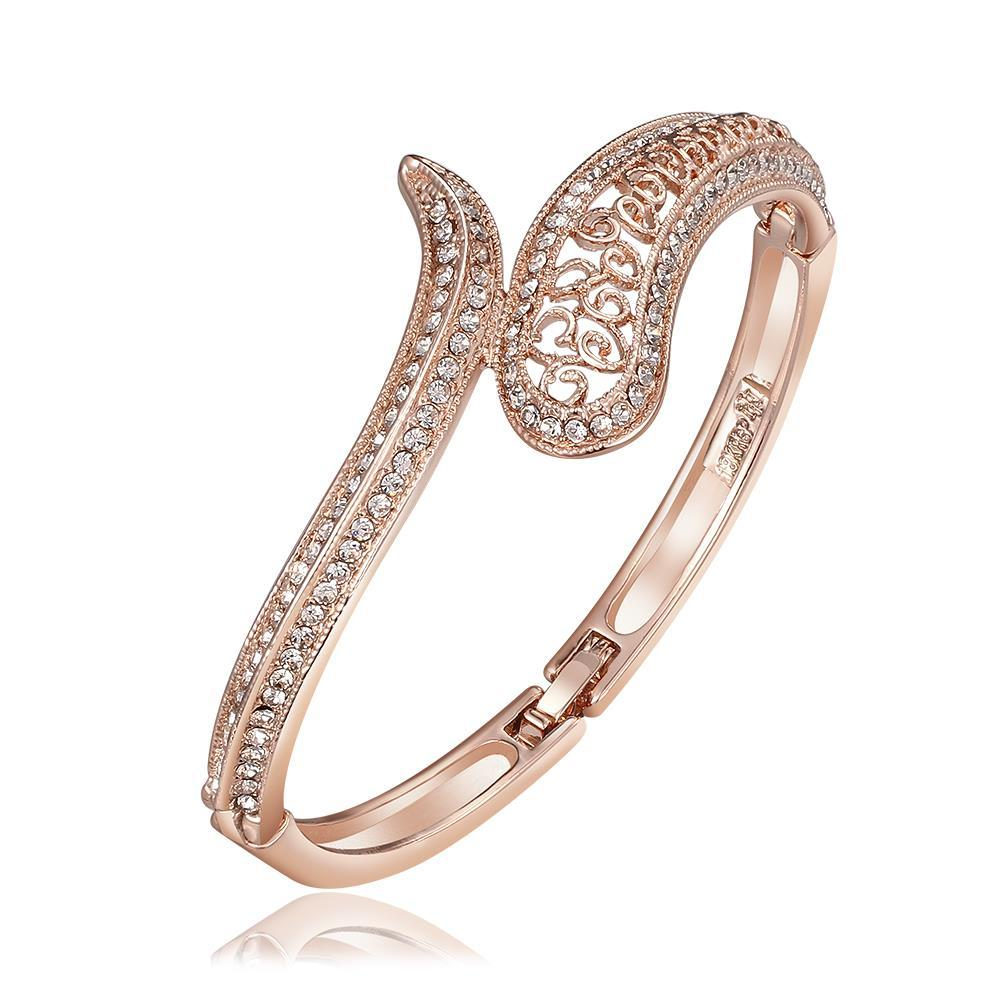 Vienna Jewelry 18K Rose Gold Connected Cobra Bangle with Austrian Crystal Elements