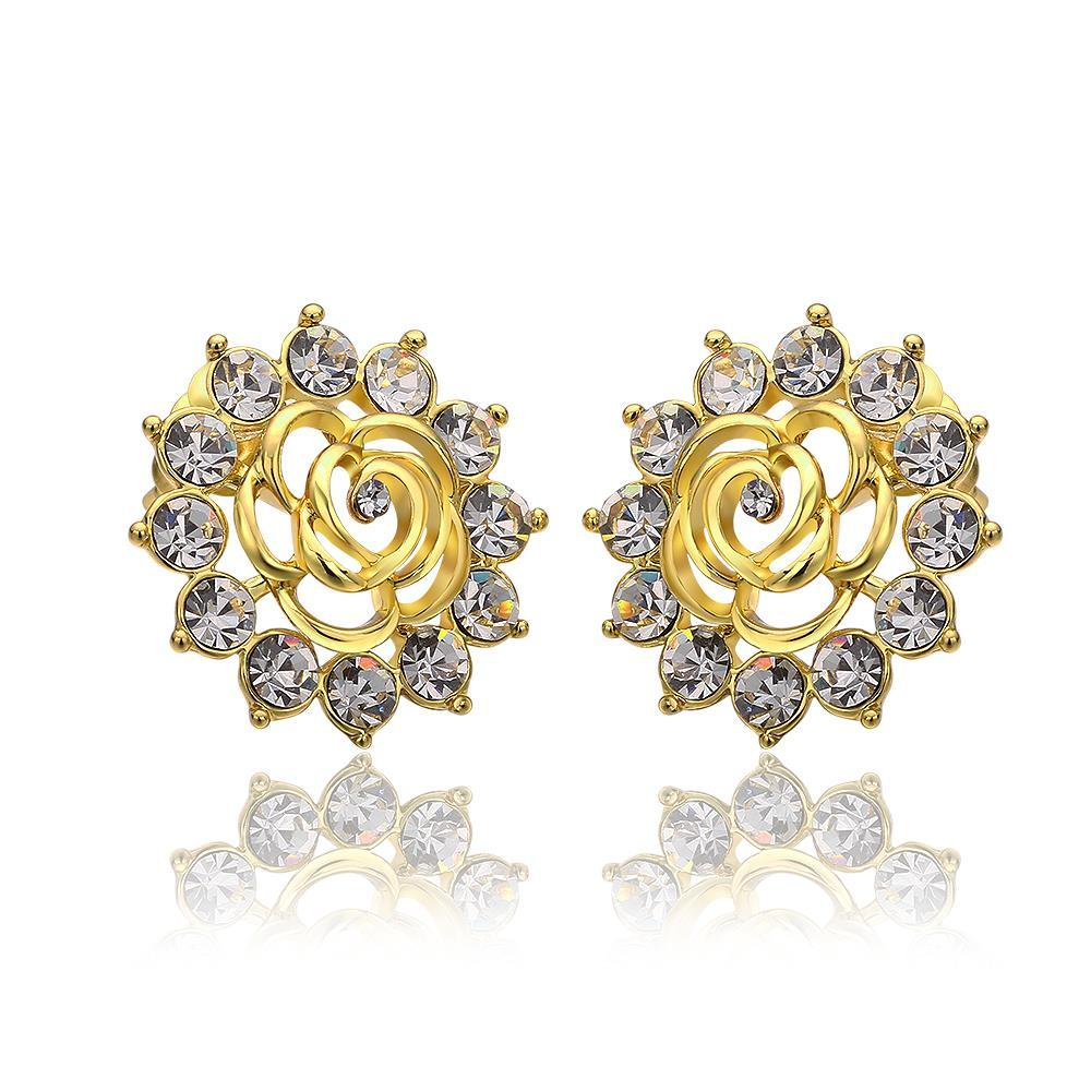 Vienna Jewelry 18K Gold Snowflake Earrings with Crystals Made with Swarovksi Elements