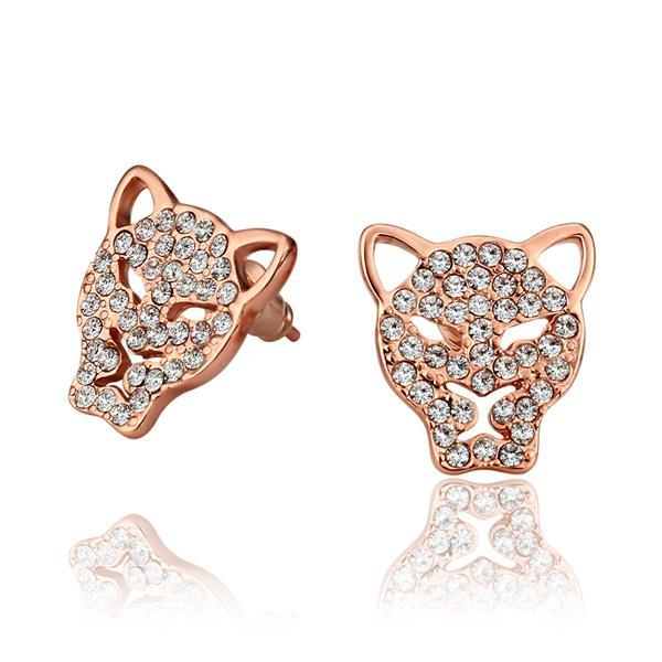 Vienna Jewelry 18K Rose Gold Hollow Jaguar Studs Made with Swarovksi Elements