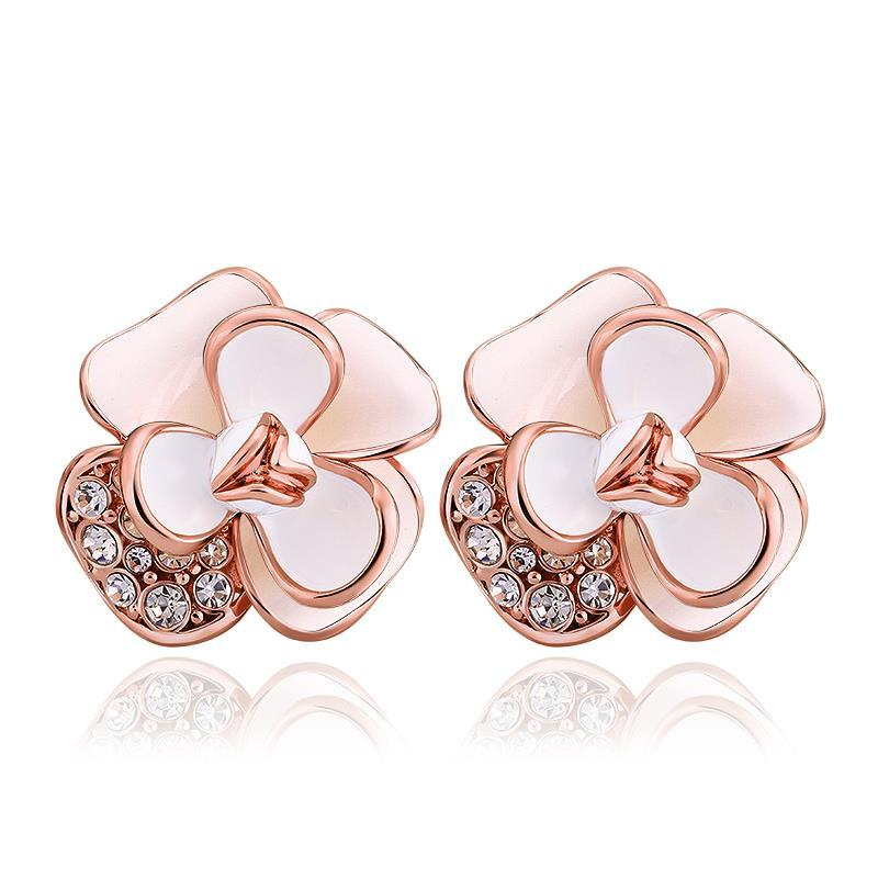 Vienna Jewelry 18K Rose Gold Double Ivory Covering Floral Petal Stud Earrings Made with Swarovksi Elements
