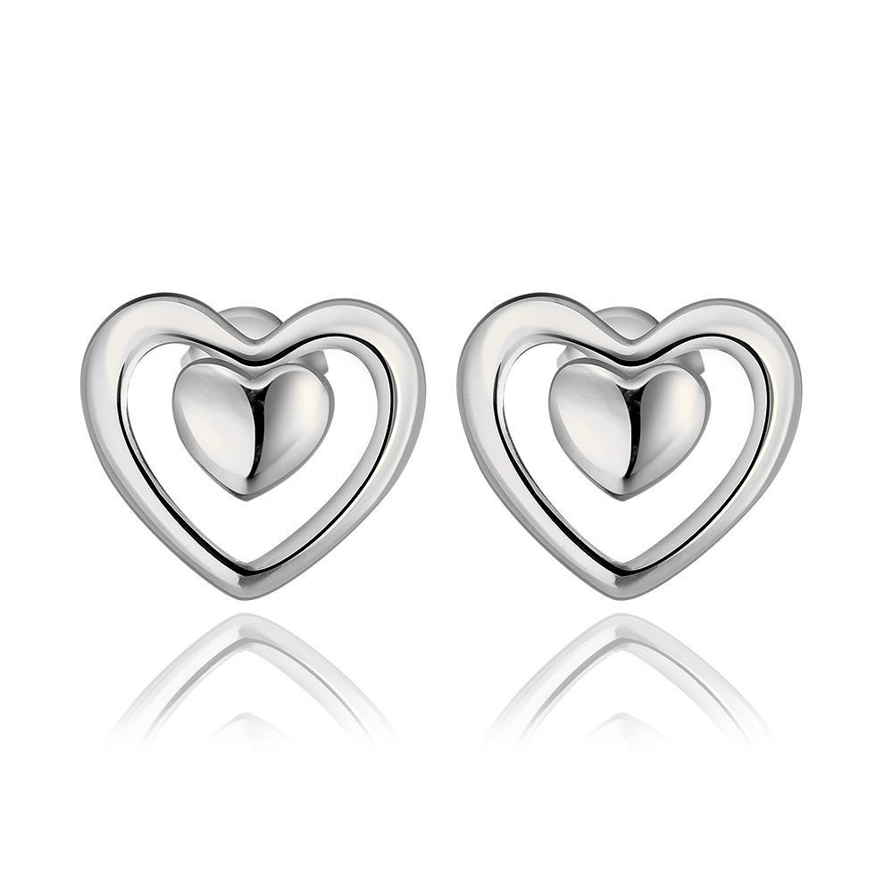 Vienna Jewelry 18K White Gold Petite Heart Shaped Stud Earrings Made with Swarovksi Elements