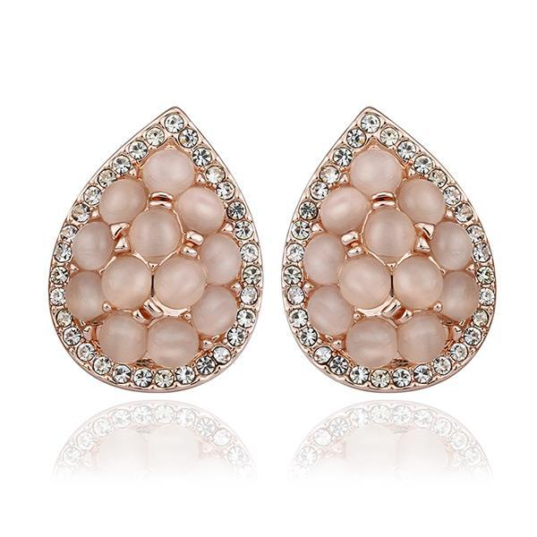 Vienna Jewelry 18K Rose Gold Acorn Shaped Natural Gemstones Stud Earrings Made with Swarovksi Elements
