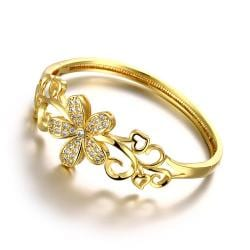 Vienna Jewelry Gold Plated Hollow Daisys of the World Bangle - Thumbnail 0