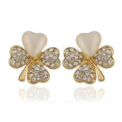 Vienna Jewelry 18K Gold Clover Stud Earrings with Ivory Inlay Made with Swarovksi Elements - Thumbnail 0