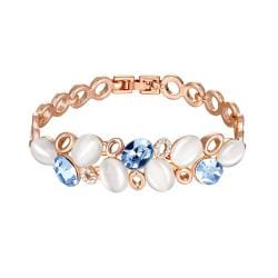 Vienna Jewelry 18K Rose Gold Ivory Stones Bracelet with Austrian Crystal Elements - Thumbnail 0